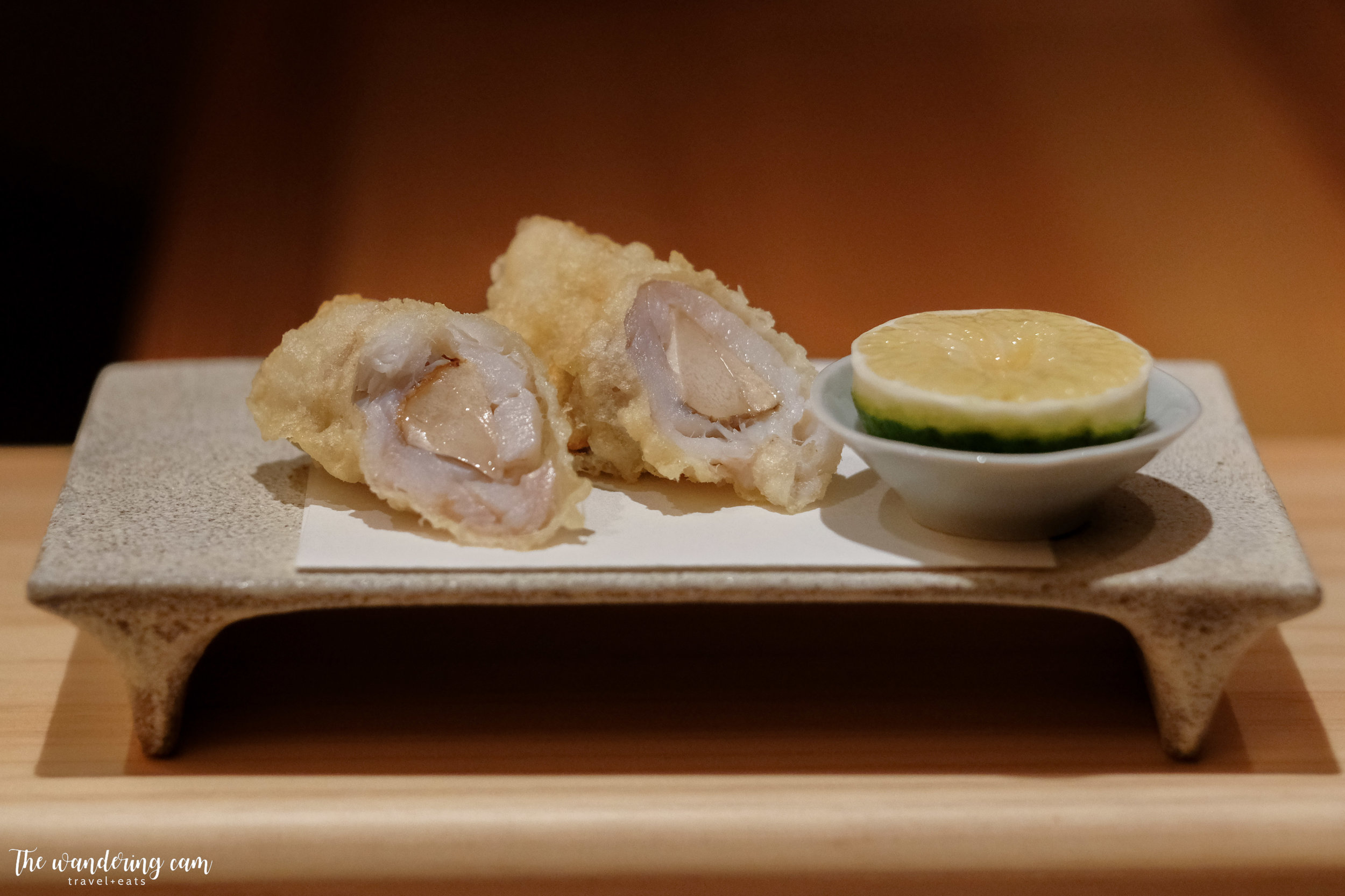 Tempura of mushroom wrapped in amadai fish - finish with a squeeze of lime