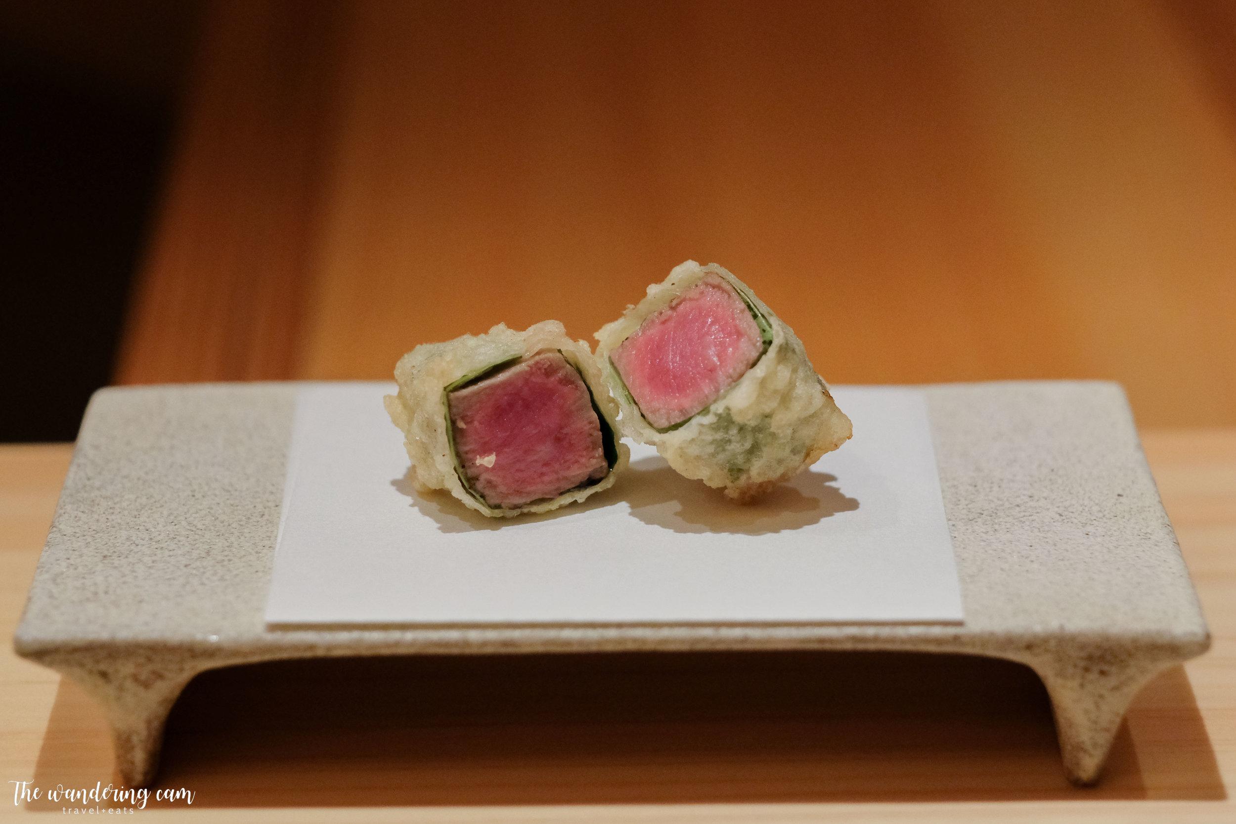 Tempura of Kagoshima wagyu wrapped in shiso leaf - paired with white truffle salt