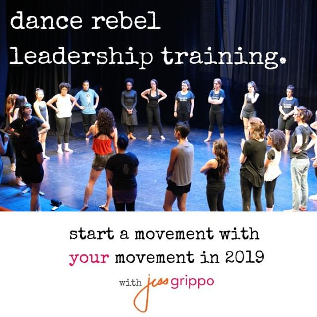 Announcement! I'm now accepting applications for the Dance Rebel Leadership Training, a 6 week intensive where you'll have my personal guidance and mentorship on creating and launching your own dance thing (i.e. class/company/program) so you can make dance an active part of your life/career, make income from it (if you desire), and create authentic community. .  It's for you if you've had a desire to bring a dance group together in your own authentic way - or add dance to an already existing offering you share, like yoga, pilates, therapeutic movement, etc. And it doesn't matter if you have a ton of dance experience or barely any.  Shoot me a message to talk, or go right ahead to fill out the application in my profile link at @jessgrippo :)