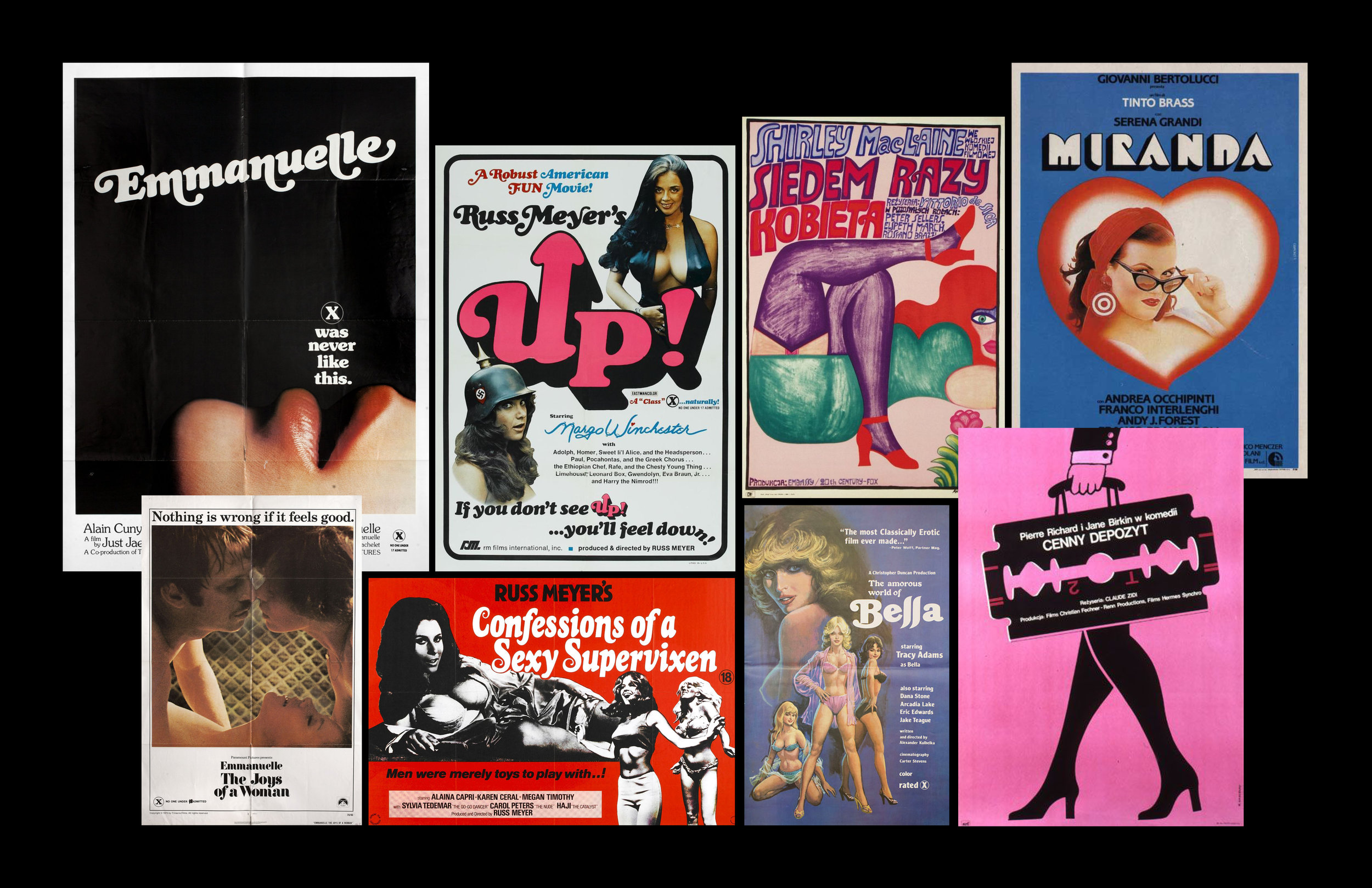 A collection of pulp film posters from the 1970s.
