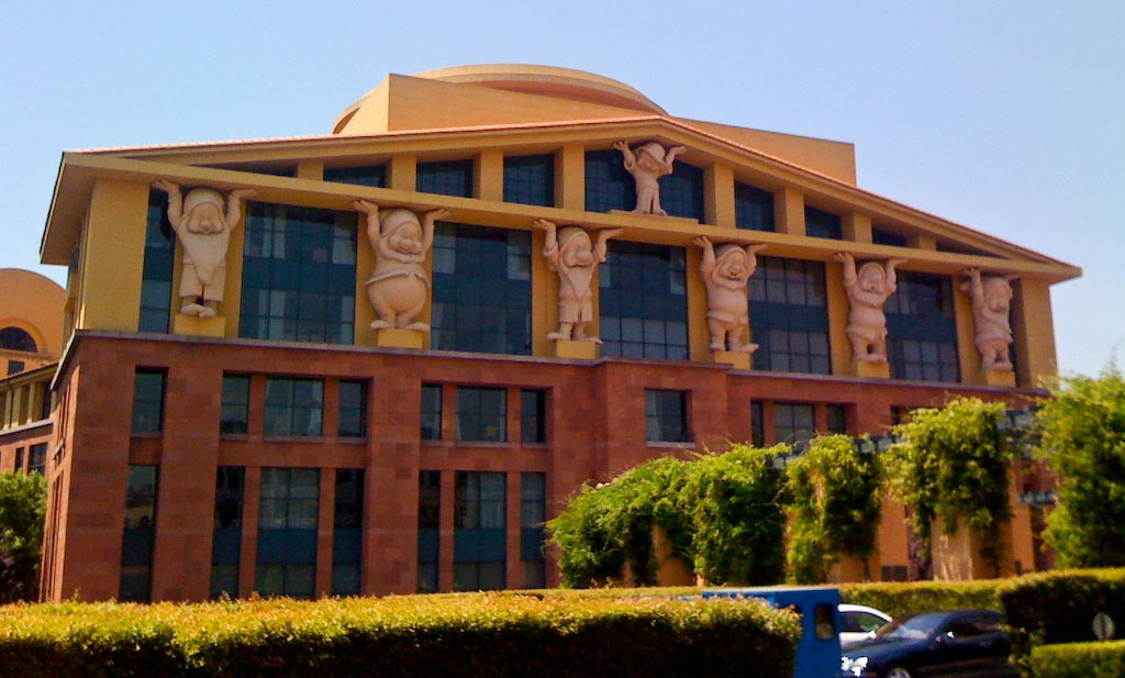 Team Disney building in Burbank, California by Michael Graves, 1986. It's jokingly referencing the caryatids of classical architecture by replacing them with the Seven Dwarfs. Image Source:  Rick Gordon