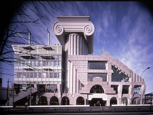 M2 in Tokyo, Japan by Kengo Kuma, 1991. Once again a comical reference to classical architecture with an enormously overscaled Ionic column. Image Source:  Kengo Kuma and Associates