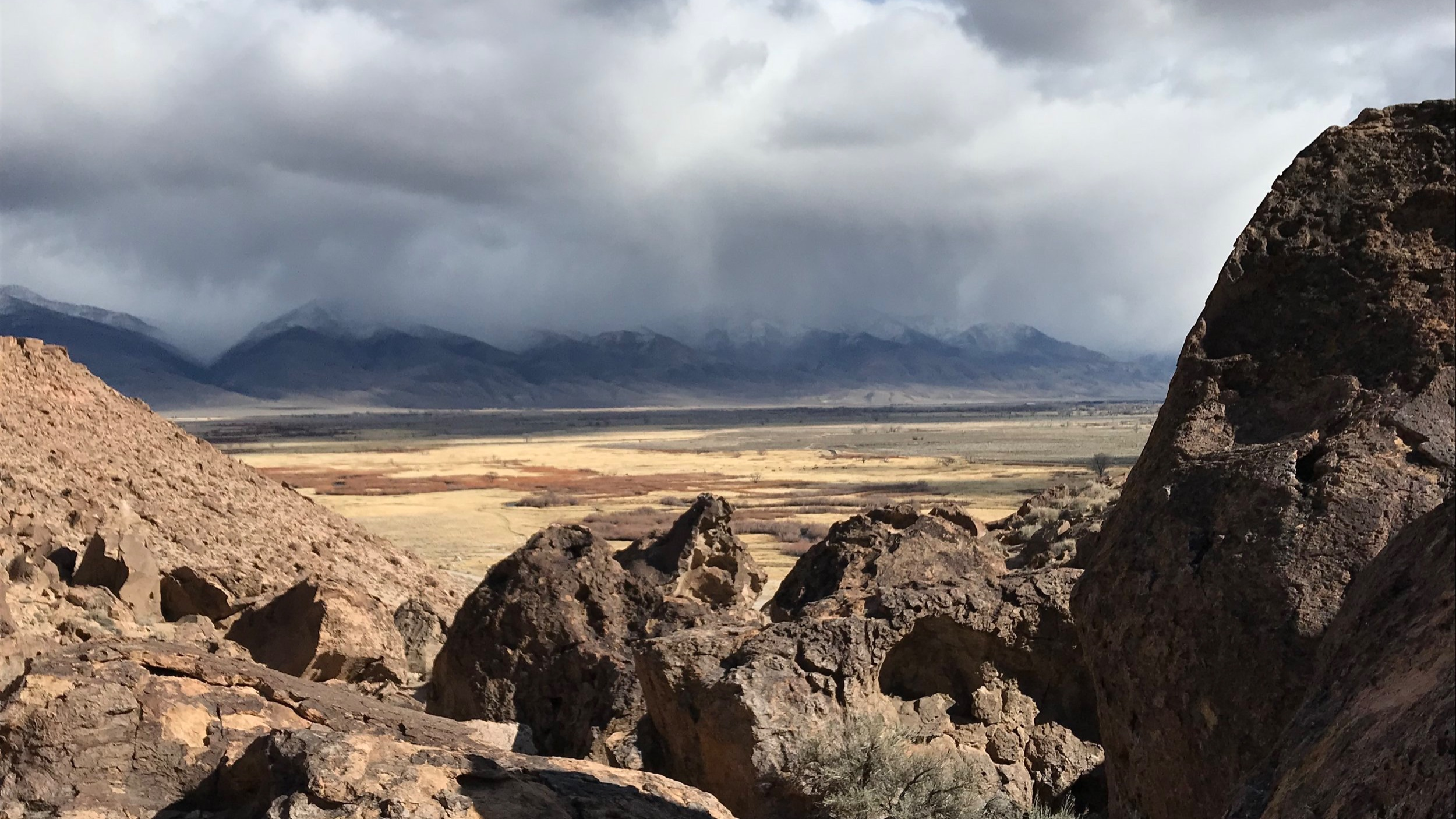 View from the Tablelands overlooking the Owens Valley. Bishop, CA