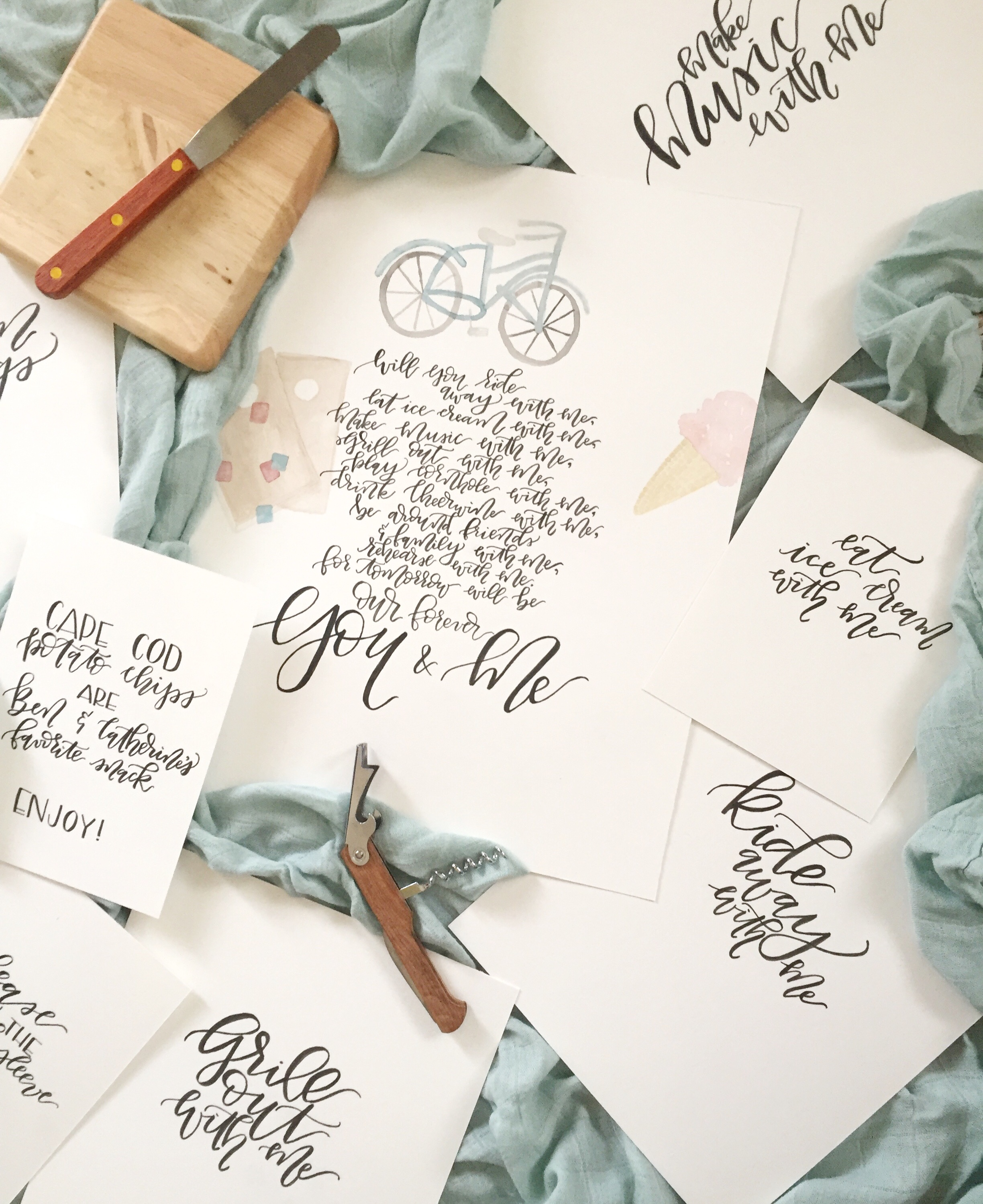 Rehearsal Dinner Watercolor Sign Calligraphy