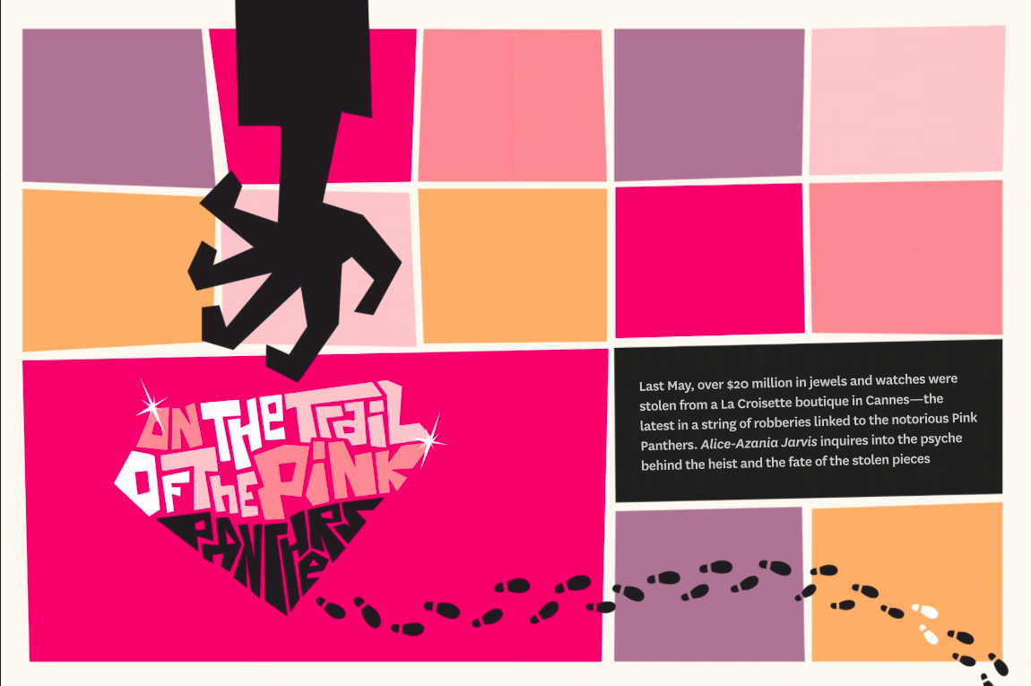 Finally got to do a Saul Bass inspired layout for a story on the Pink Panther heists