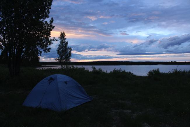 En av många fina tältplatser.