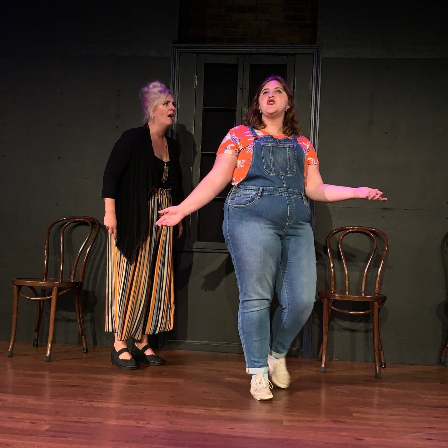 Onstage performing with the indie improv team, Stable Manner