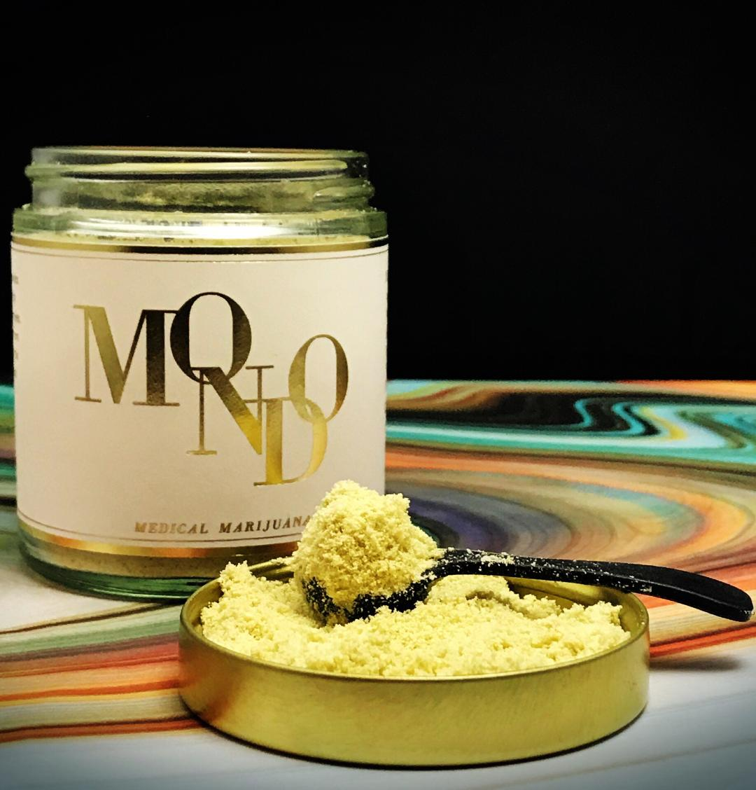 """Mondo Meds - Mondo Med's makes micro dosing simple with an all natural, low calorie cannabis powder that dissolves almost instantly. Mondo is perfect for anyone wanting the benefits of THC without extra calories or sugar, can be added to many of your favorite foods or drinks and is almost tasteless.But it's not just the versatility that makes us love Mondo. Made strain specific with Blue Dream flower, (our house favorite) helps insure a more constant experience for relief from anxiety and stress. When finding relief for conditions like anxiety, stress or depression it's important to know that different strains of the cannabis plant can have different effects and benefits.Micro dosing is taking low amounts of THC in order to achieve the medicinal benefits without the psychoactive effects that may interfere with daily activities. The goal is not to get """"high"""" but to aid in the relief from conditions such as anxiety, stress, depression, sleep, fibromyalgia and pain. It's important to note dosing and tolerance levels vary person to person. We recommend starting with 2.5 mg's and go low & slow, until you find what works best.Learn more MondoMeds.com"""