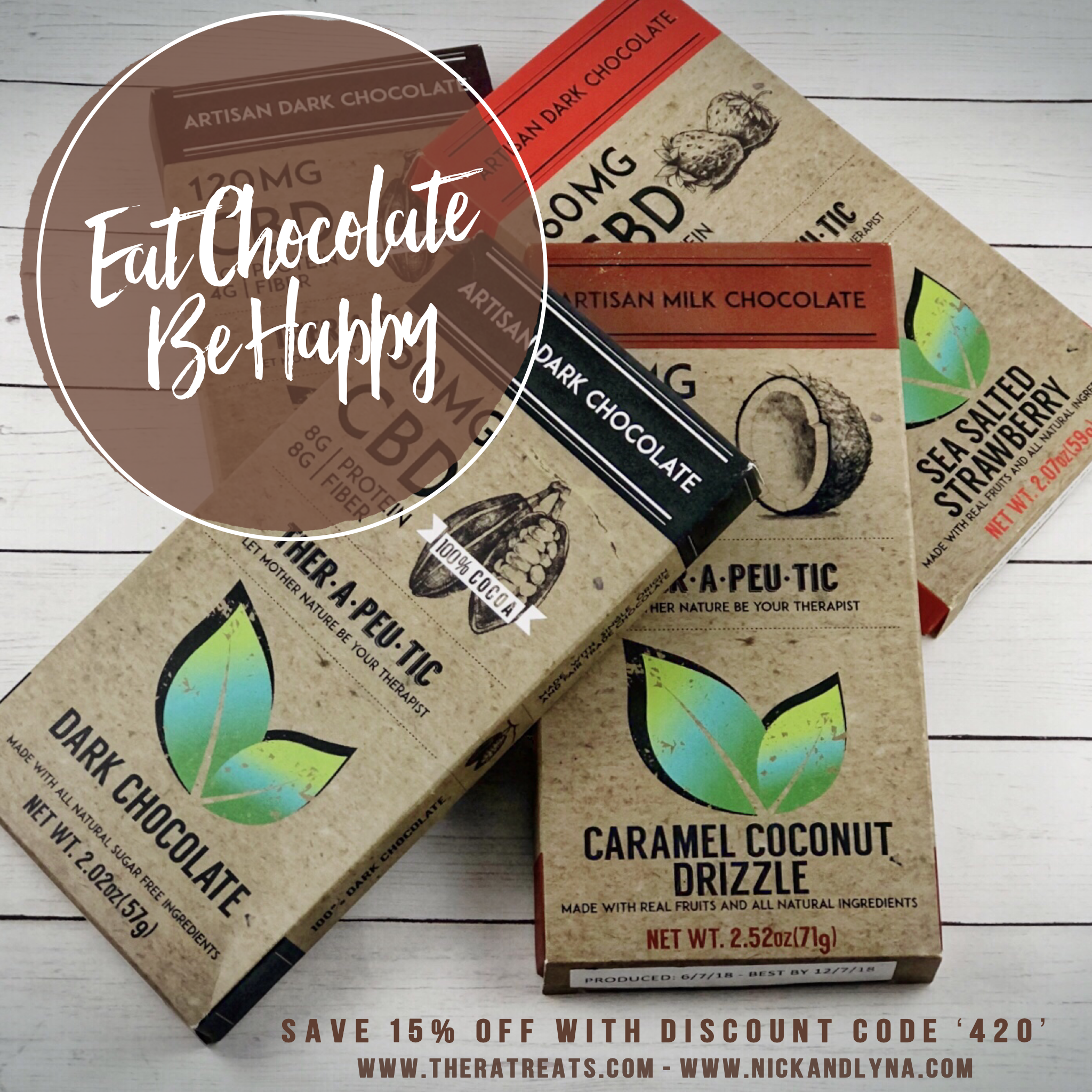 Therapeutic Treats - Chocolate lovers rejoice and enjoy the benefits of cocoa and CBD with Therapeutic Treat's and their artisan CBD infused chocolates. Made with all natural, non gmo, certified organic & gluten-free ingredients, Therapeutic Treat's are perfect anytime you need relief from pain, stress, inflammation, anxiety, muscle spasms, or even your sweet tooth! Choose from an amazing selection like Caramel Coconut Drizzle, Dark Chocolate, and our personal favorite the Sea Salt Strawberry with dark chocolate starting at 15 mg's of CBD per serving. But don't just take our word, treat yourself!Learn more TheraTreats.com