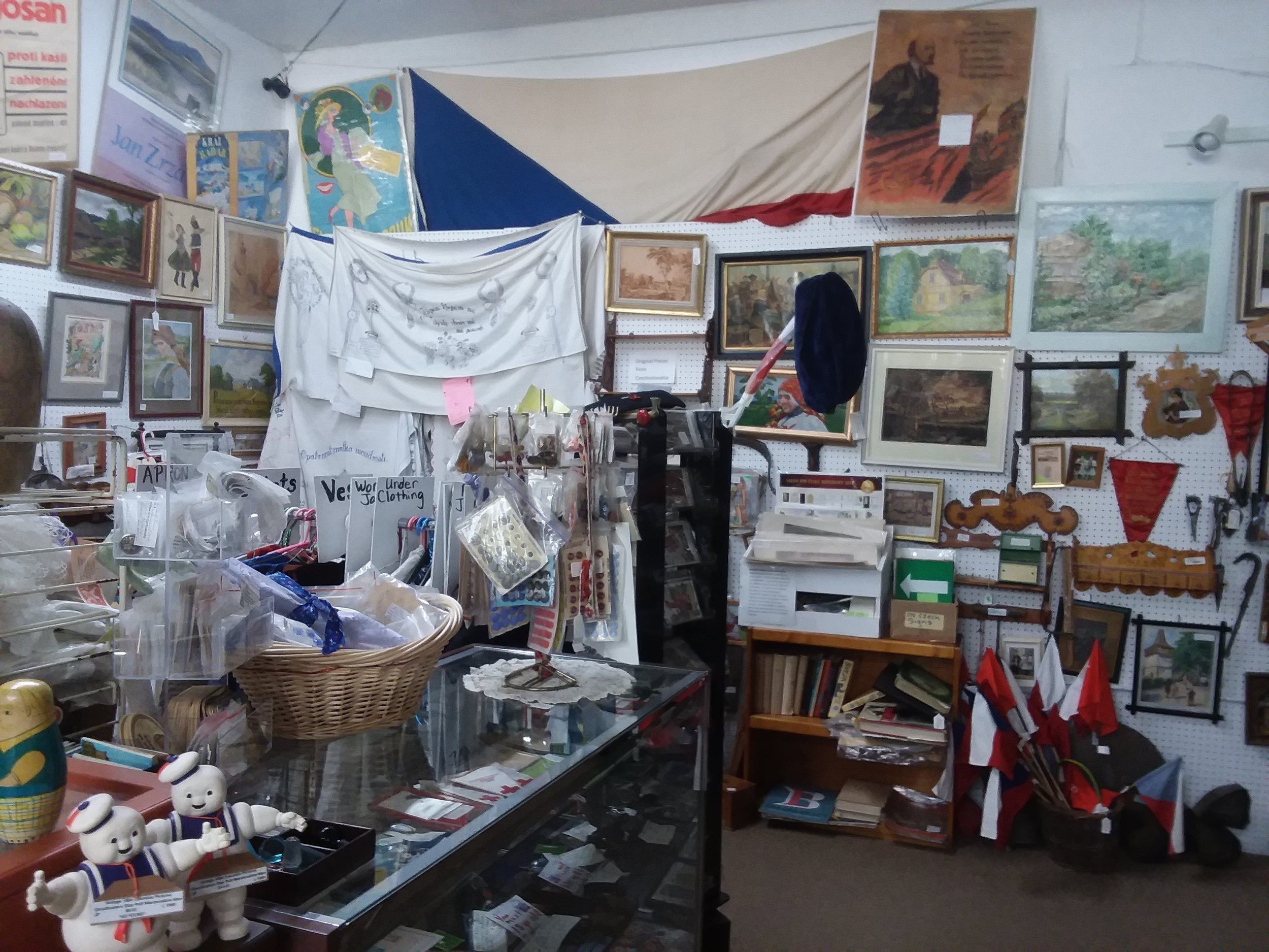 - We own the mall and carry the largest selectioon of Czech and Slovak antiques available anywhere in the U.S. From the former Czechoslovakia we have paintings, primitives, glass and pottery, beer lasses and tablecloths, Folk costumes (kroj), buttons and trim and hundreds of wonderful pieces of folk art. In addition, we have a military corner for you military collectors.