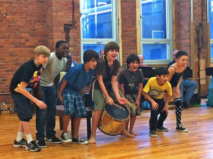 Kyle Brenn (center) as Peter Pan in a developmental workshop of Bill Sherman & Rajiv Joseph's musical  Pan.