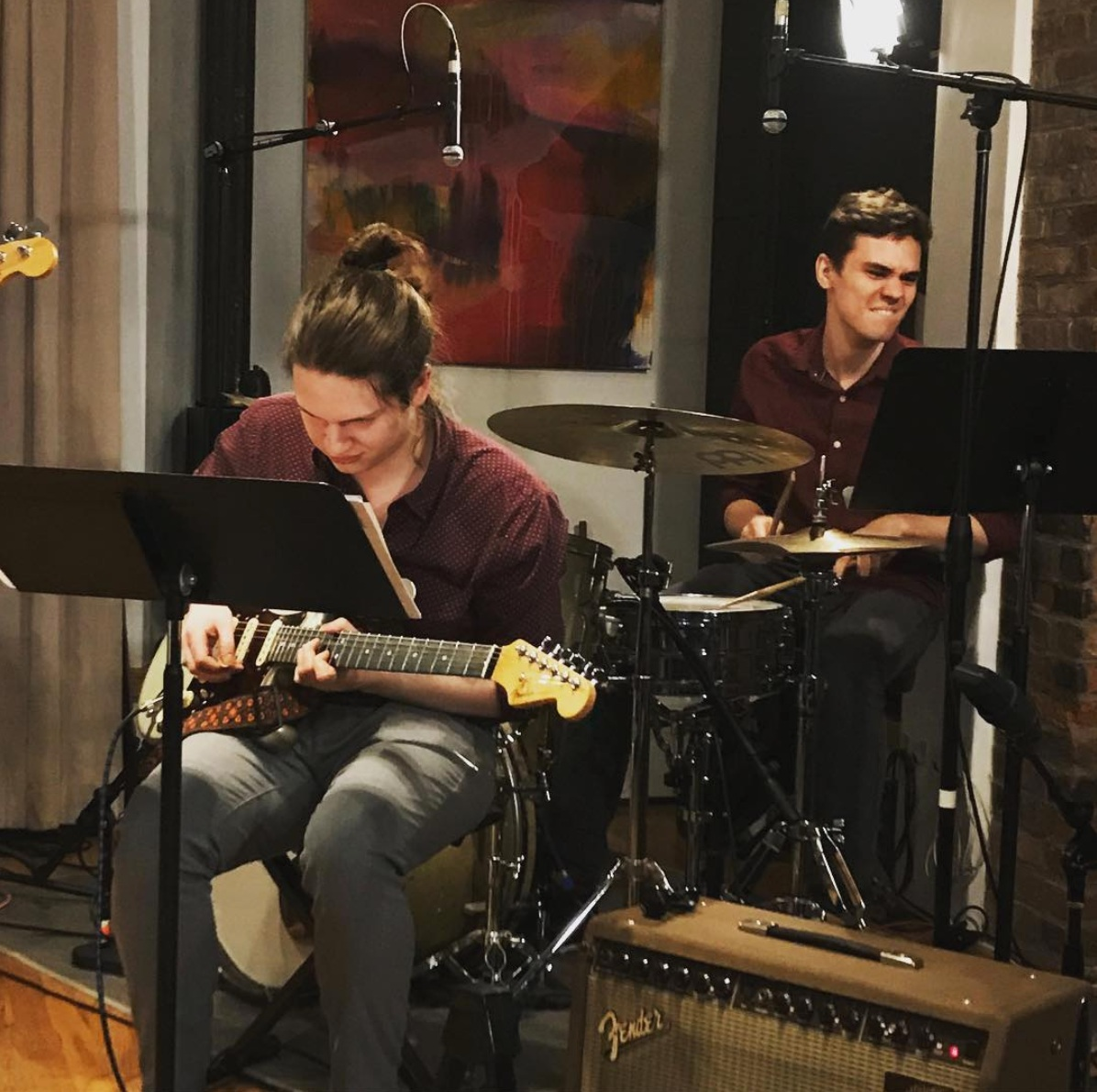 stank facin' and twinning at Dani Strigi's junior composition recital, April 2019 at Scholes Street Studio