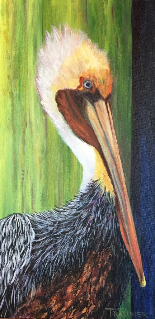 "A Penchant for Pelicans 30""x12"" SOLD"