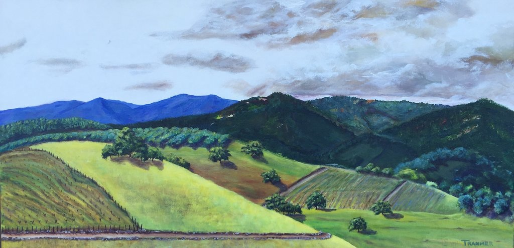 "Olives, Oaks and Vineyards 24""x48""x1.5"" $2,200"