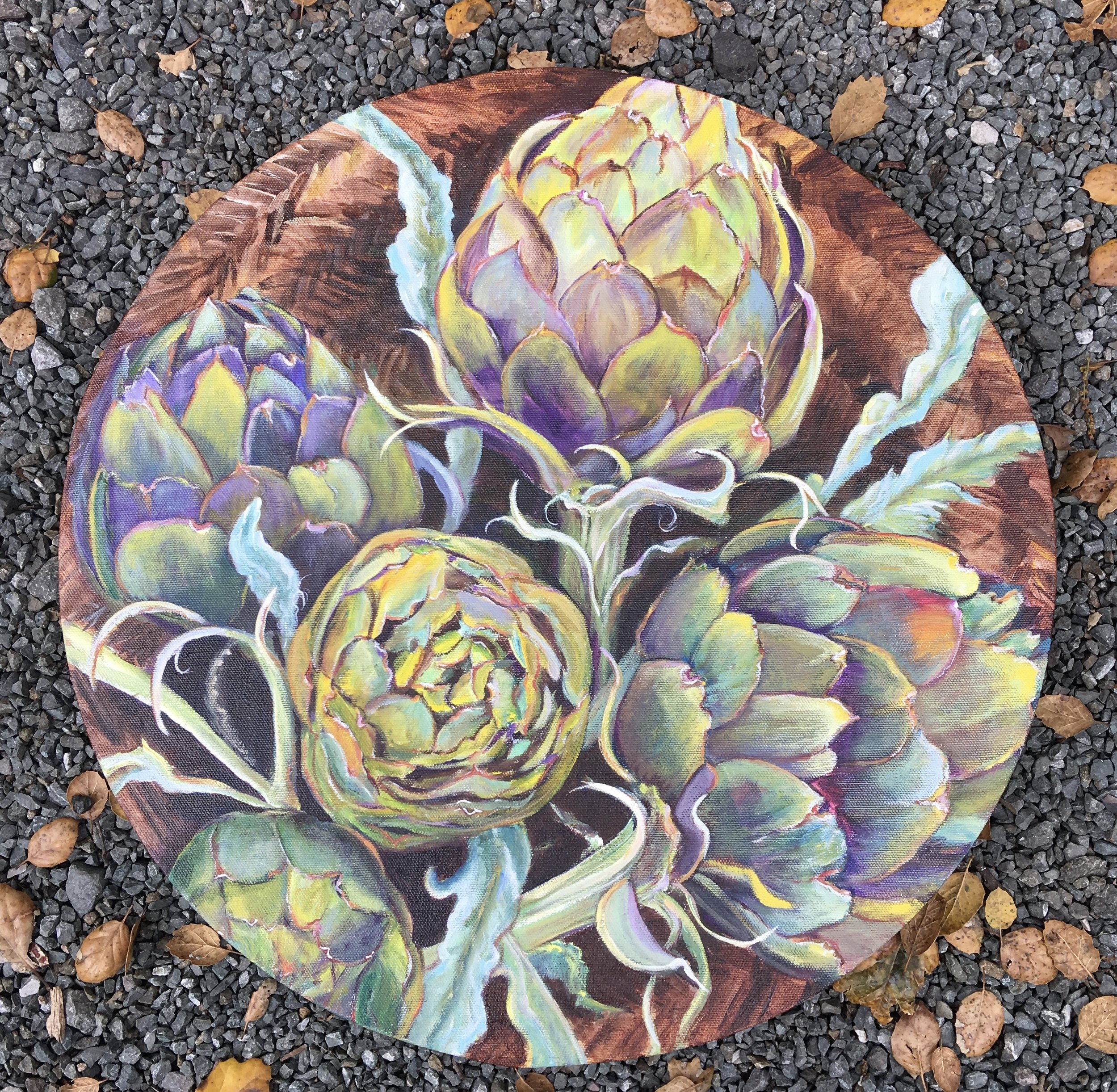"Basket of Artichokes  20"" diameter  $850"