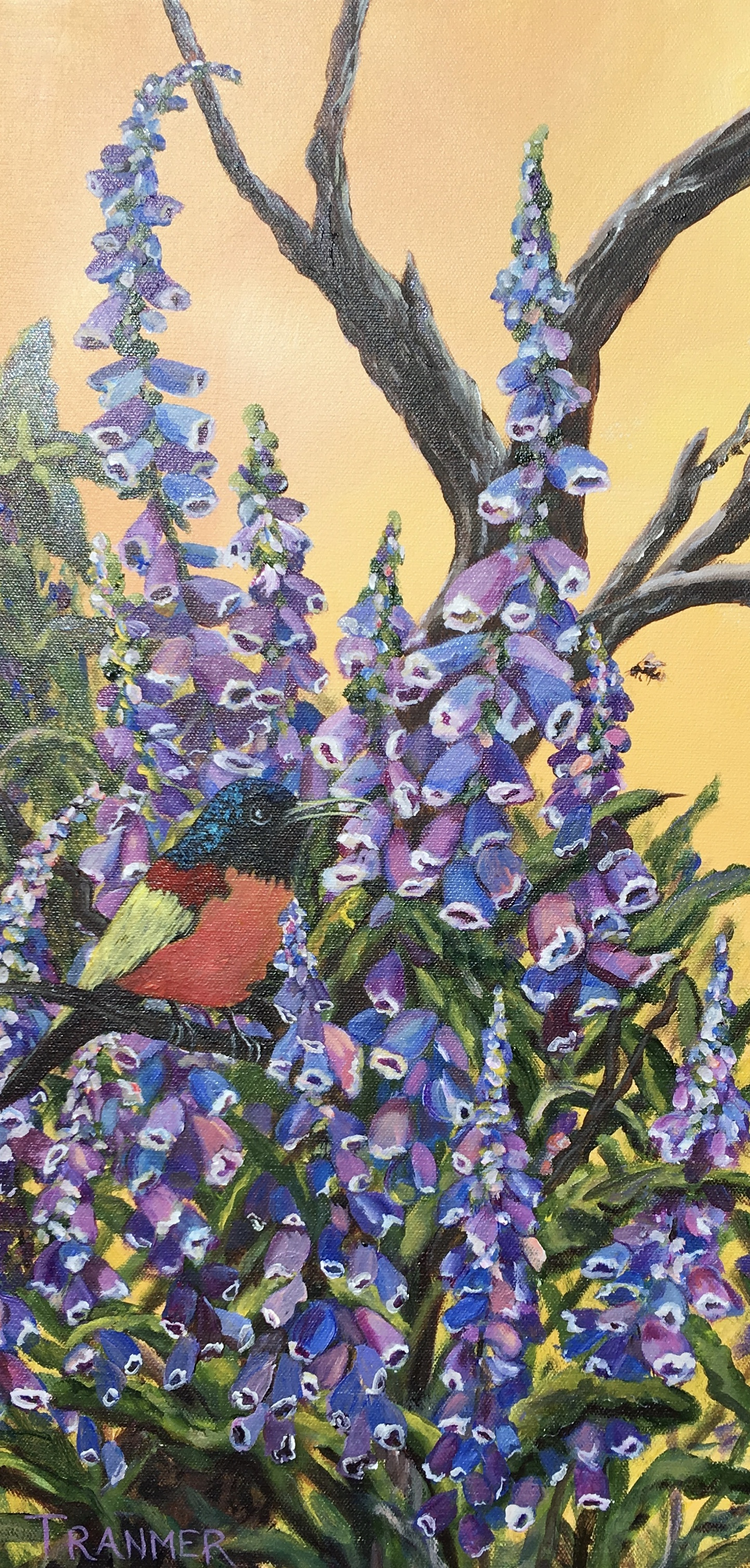 "Bee Eater and the Bee 12""x24"". $700"