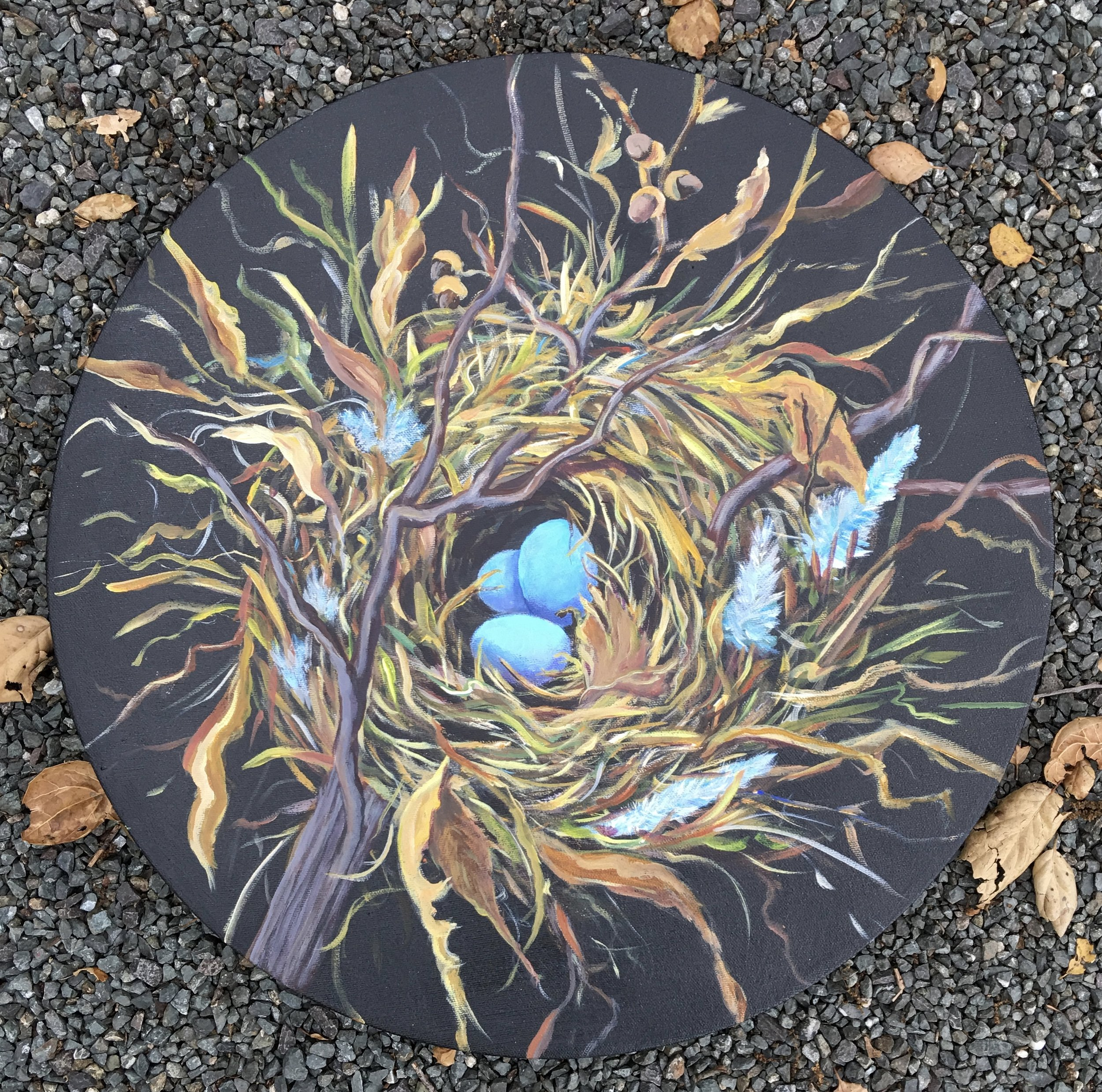 "A  Well Feathered Nest 20"" diameter $800"