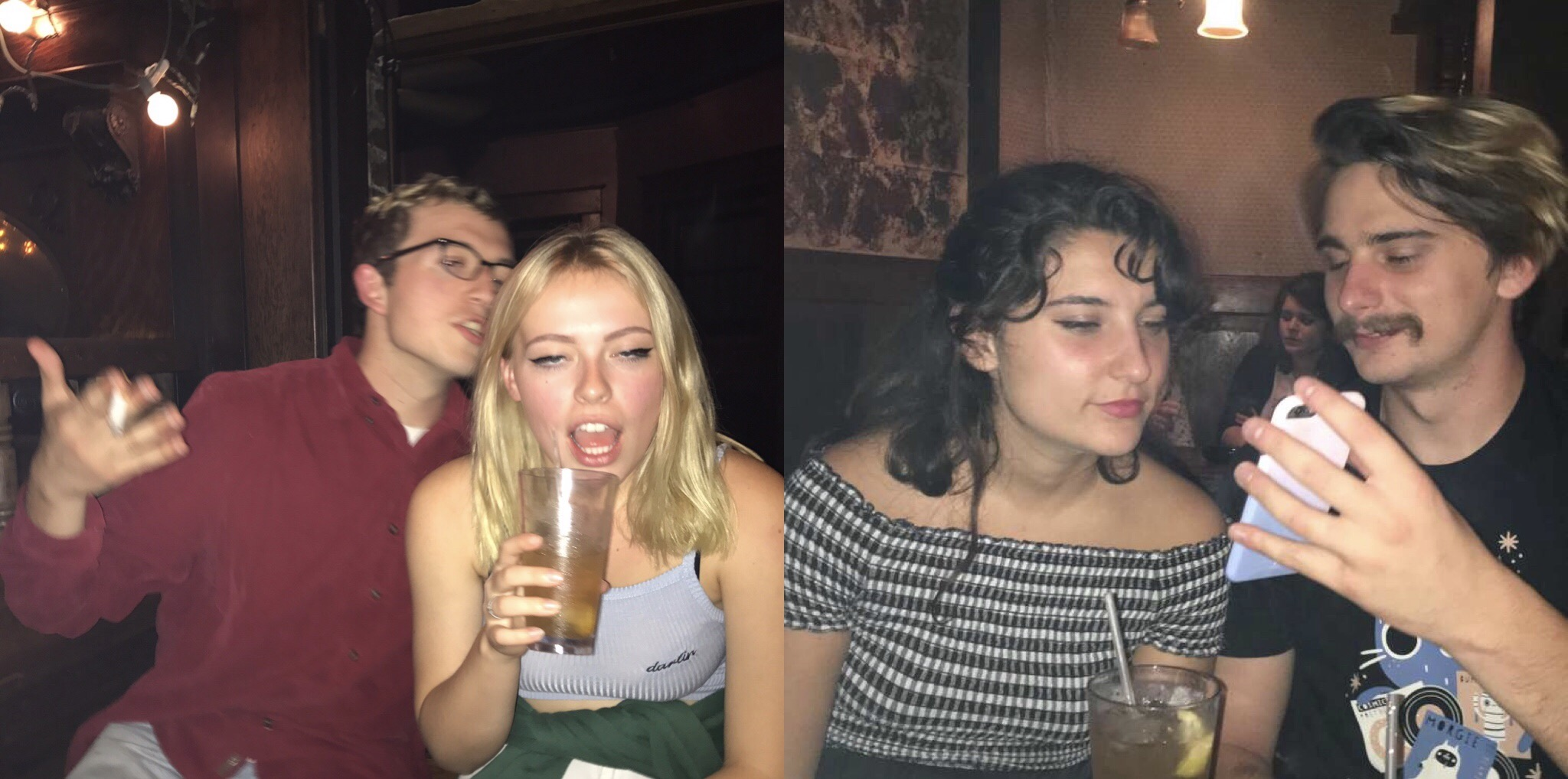 "Zoe Evans and Rrita Hashani pictured with their boyfriends (Nate Stewart and Jake White),  who were kind enough to shoot ""mansplaining"" pictures. Story by Rrita Hashani."