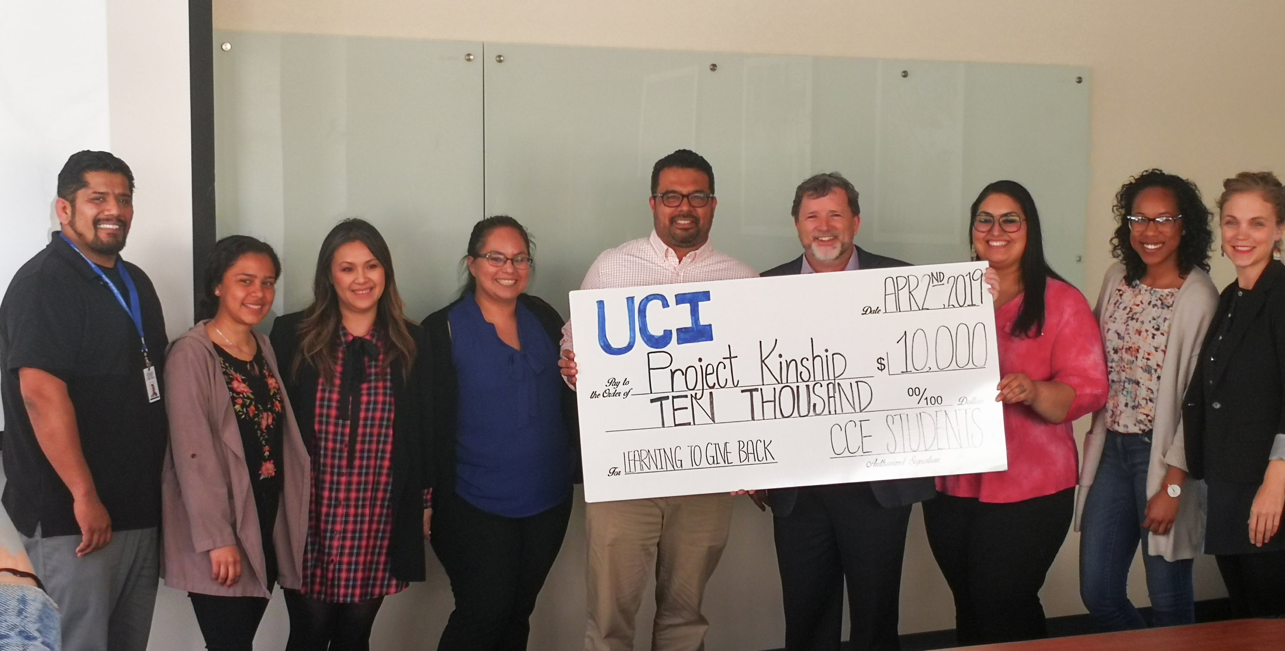 The UCI Philanthropy Lab presents Project Kinship with a generous $10,000 grant.