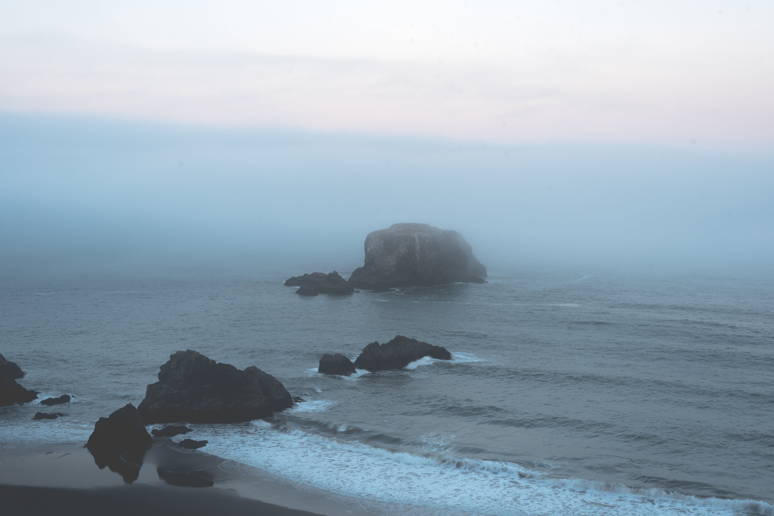 Morning fog rolling in at Bodega Bay. ISO 50, f/11, 1/4