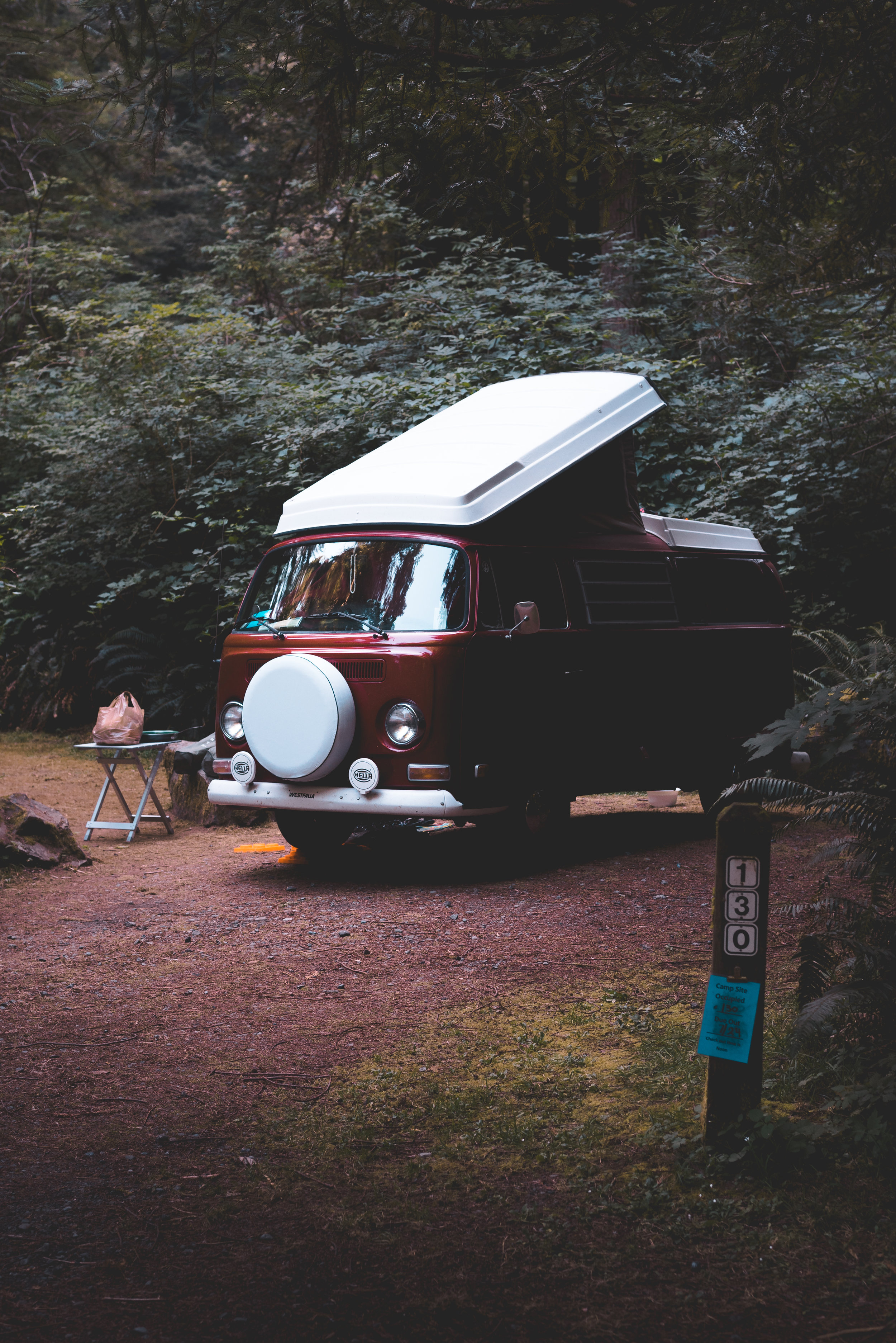 VW van at the Del Norte campground in the Redwoods. ISO 640, f/4, 1/160
