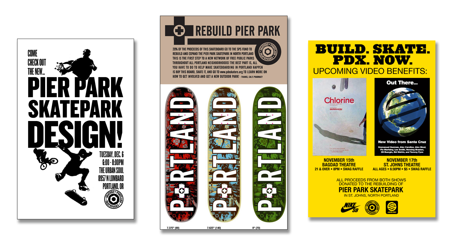 A few flyers from Skaters for Portland Skateparks' first Pier Park fundraising events.