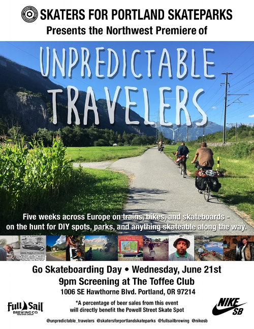 Video premiere of Unpredictable Travelers benefitting the Powell Street Skate Spot