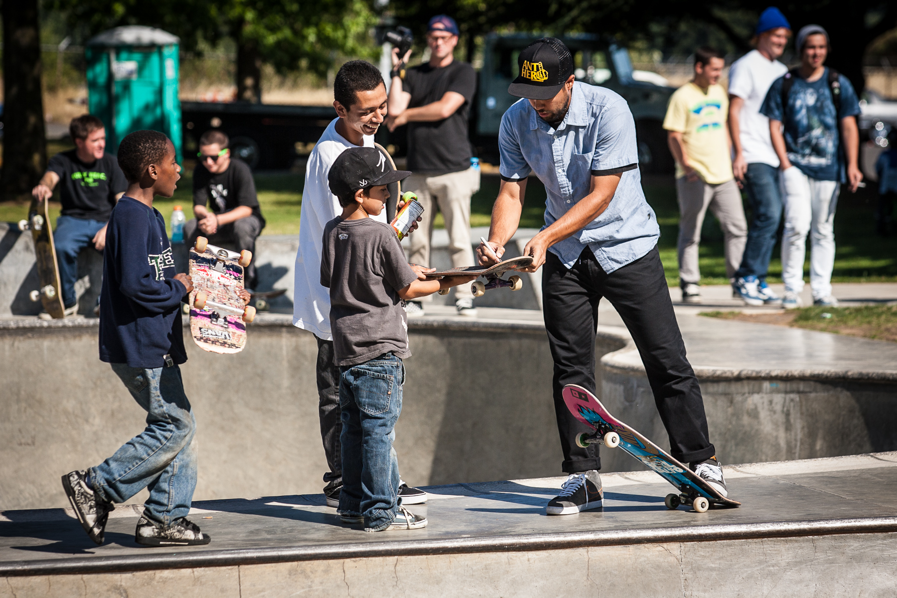 Pro skater Eric Koston offers up his autograph to the next generation of skaters at Glenhaven Skatepark.