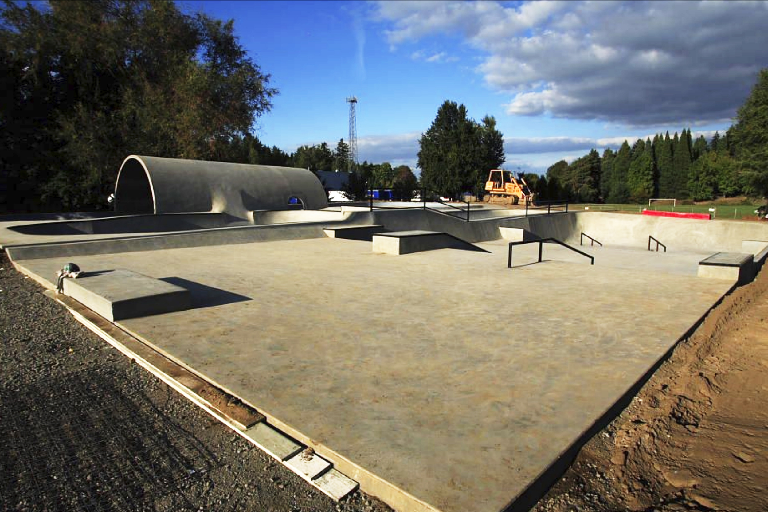 Pier Park's skatepark sits completed aside from its landscaping with opening day just around the corner.