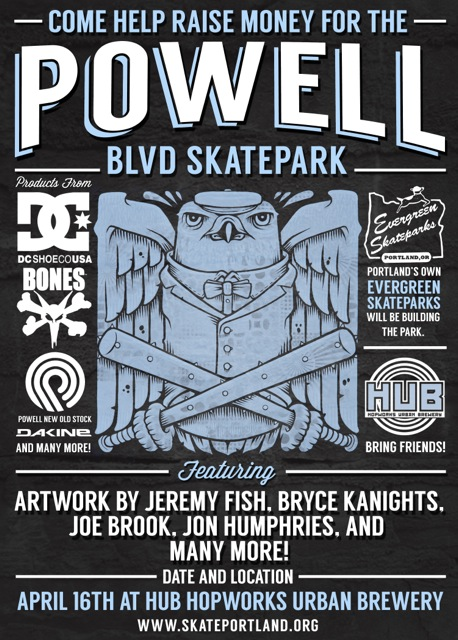 Flyer for Powell Street Skate Spot fundraiser at Hopworks Urban Brewery