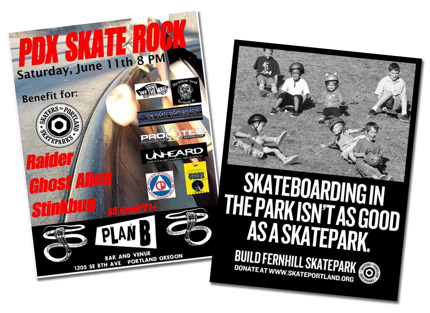 Promotional flyers for a Portland Skate Rock Show Benefit at Plan B Venue and Fernhill Skatepark Fundraiser at Extracto Roasters