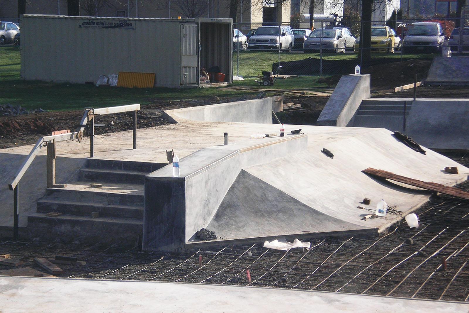 Several street skating inspired features emerge at Glenhaven Skatepark under the design and construction of Dreamland Skateparks