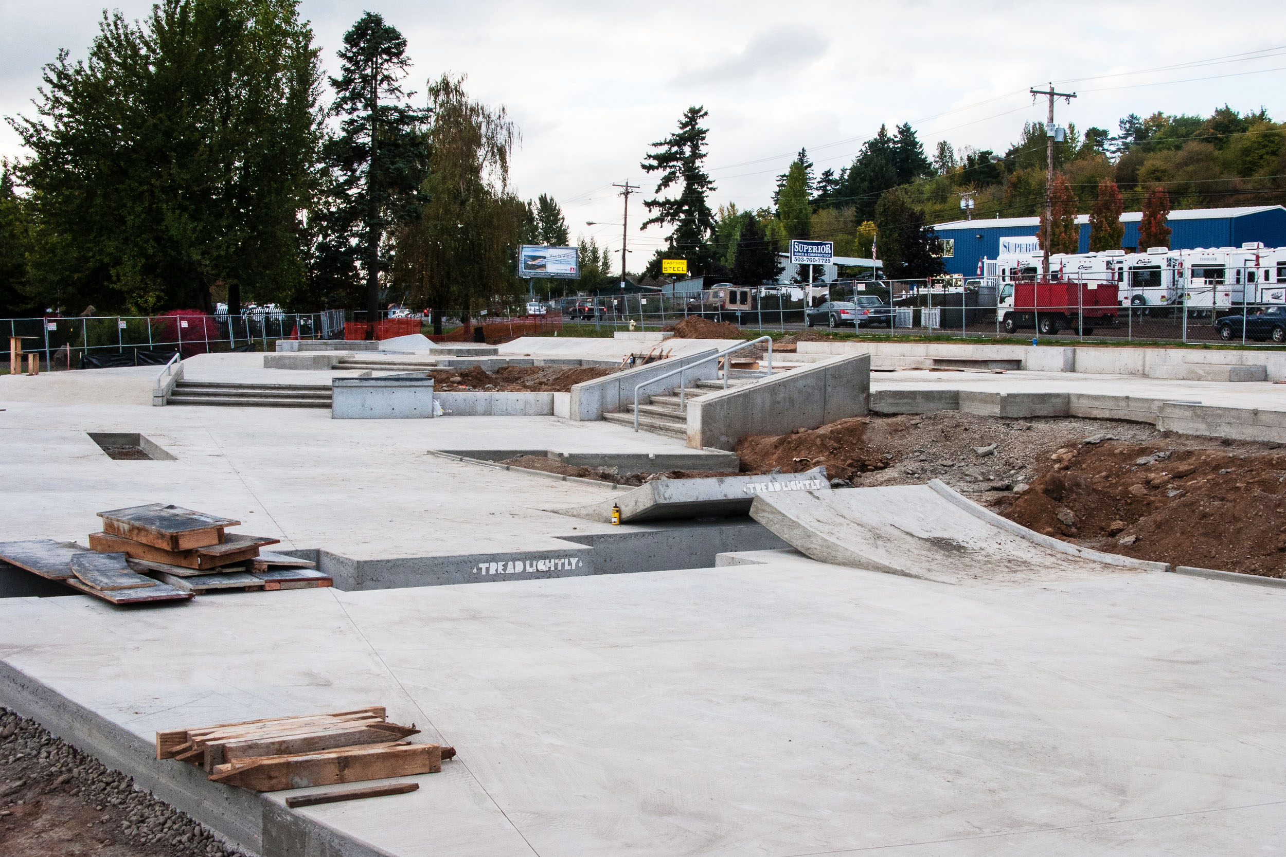 Ed Benedict Skate Plaza construction underway by New Line Skateparks.