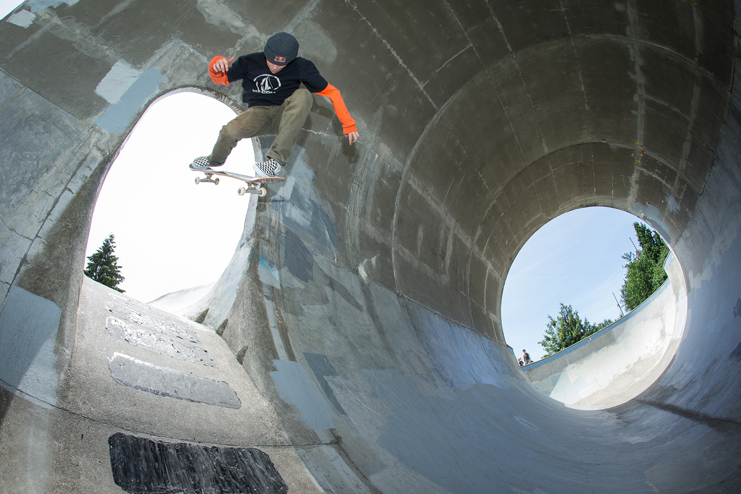 Visiting professional skater CJ Collins clears Pier Park's full pipe mouse hole with an impressive backside 360.