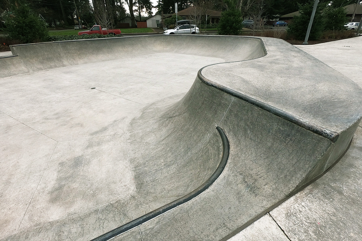 Hip section of the bowl at the Gateway Skate Spot