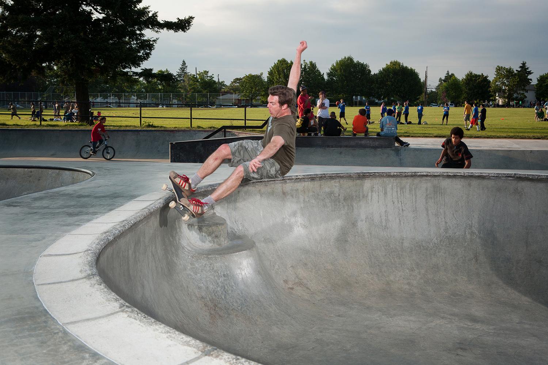 SPS co-founder Tom Miller grinds over the steps at Glenhaven Skatepark.