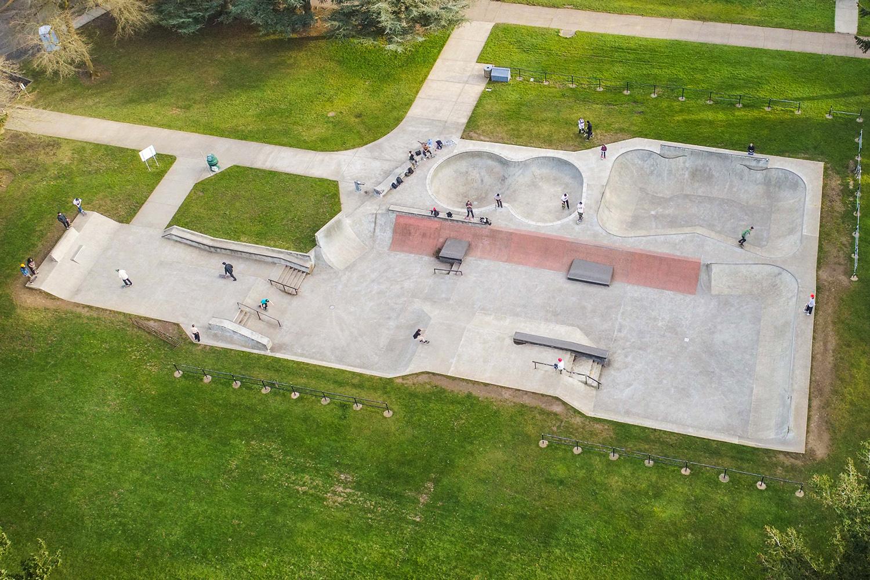 An aerial overview of Northeast Portland's Glenhaven Skatepark