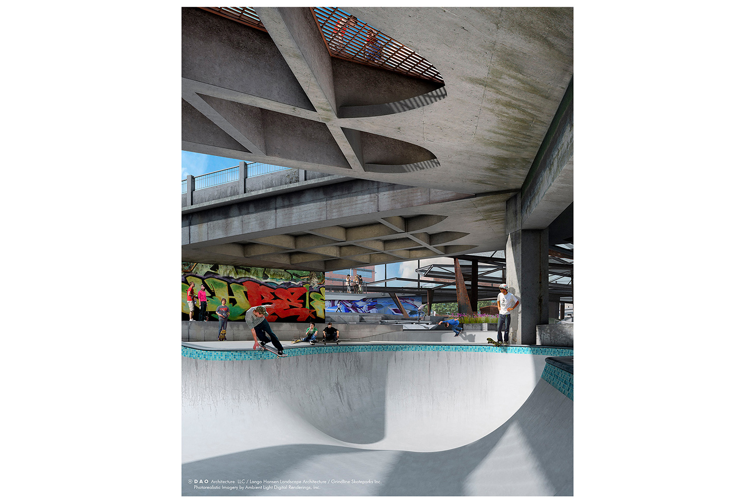 An early rendering showing a bowl section of the 30,000 square foot ODOT Steel Bridge Skatepark project.