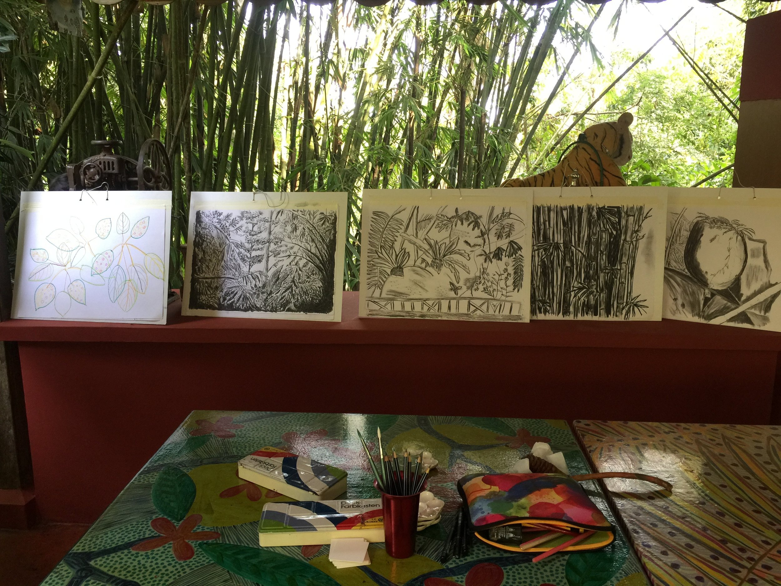 Artwork show & tell at the Pool House, Tiger Rock.