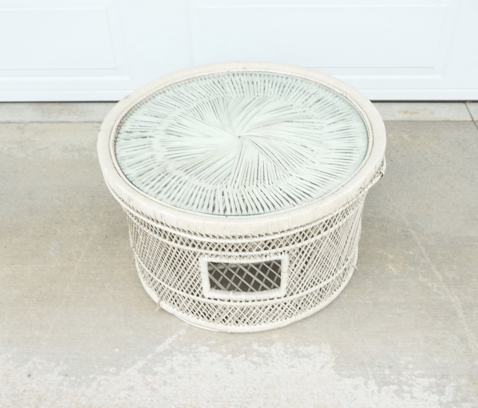 Off White Wicker Coffee Table