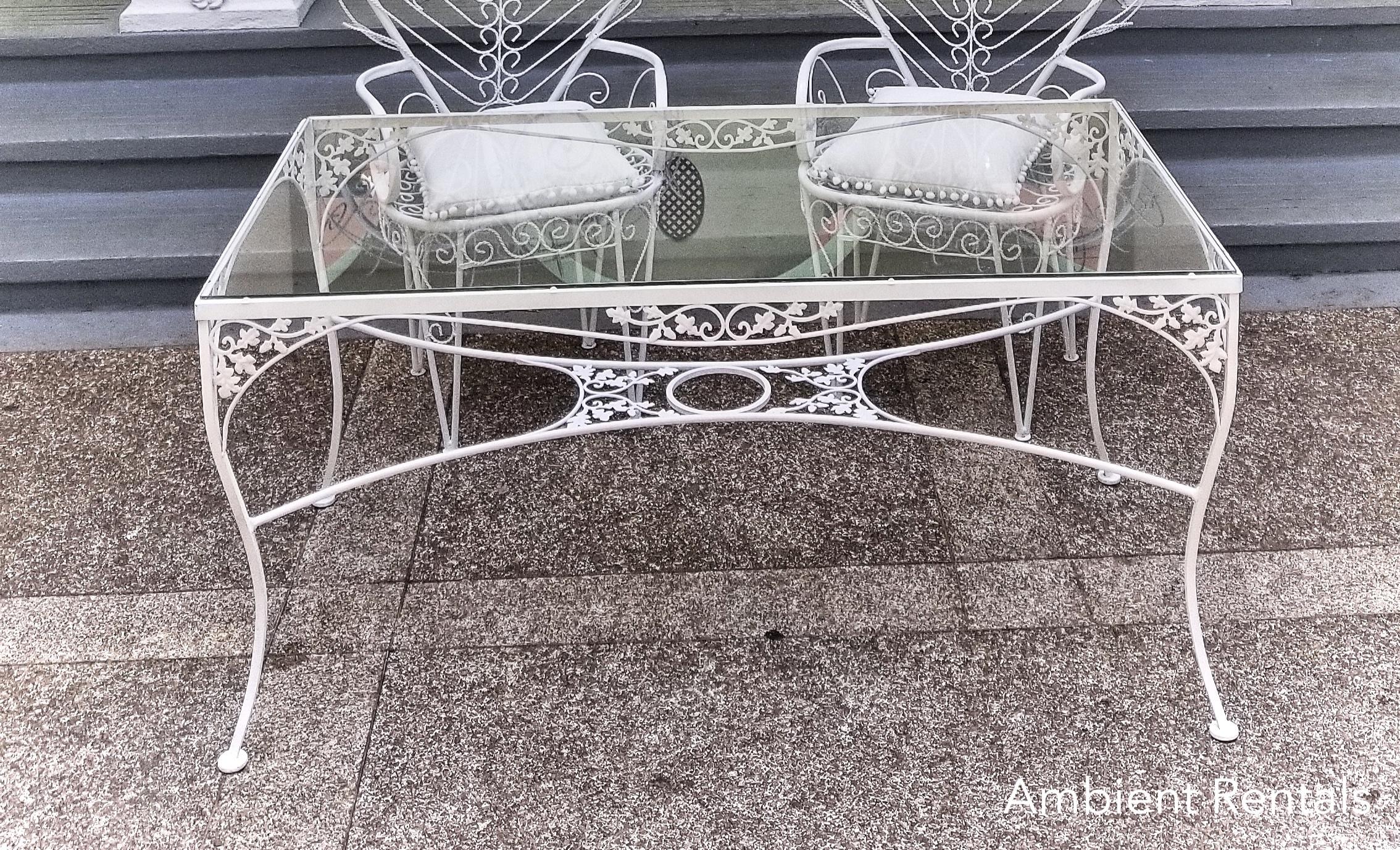 White Iron Glass Top Table