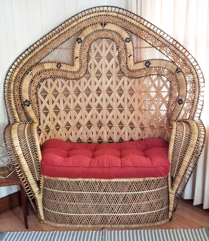 Golden Double Peacock Chair (Wicker/Loveseat)