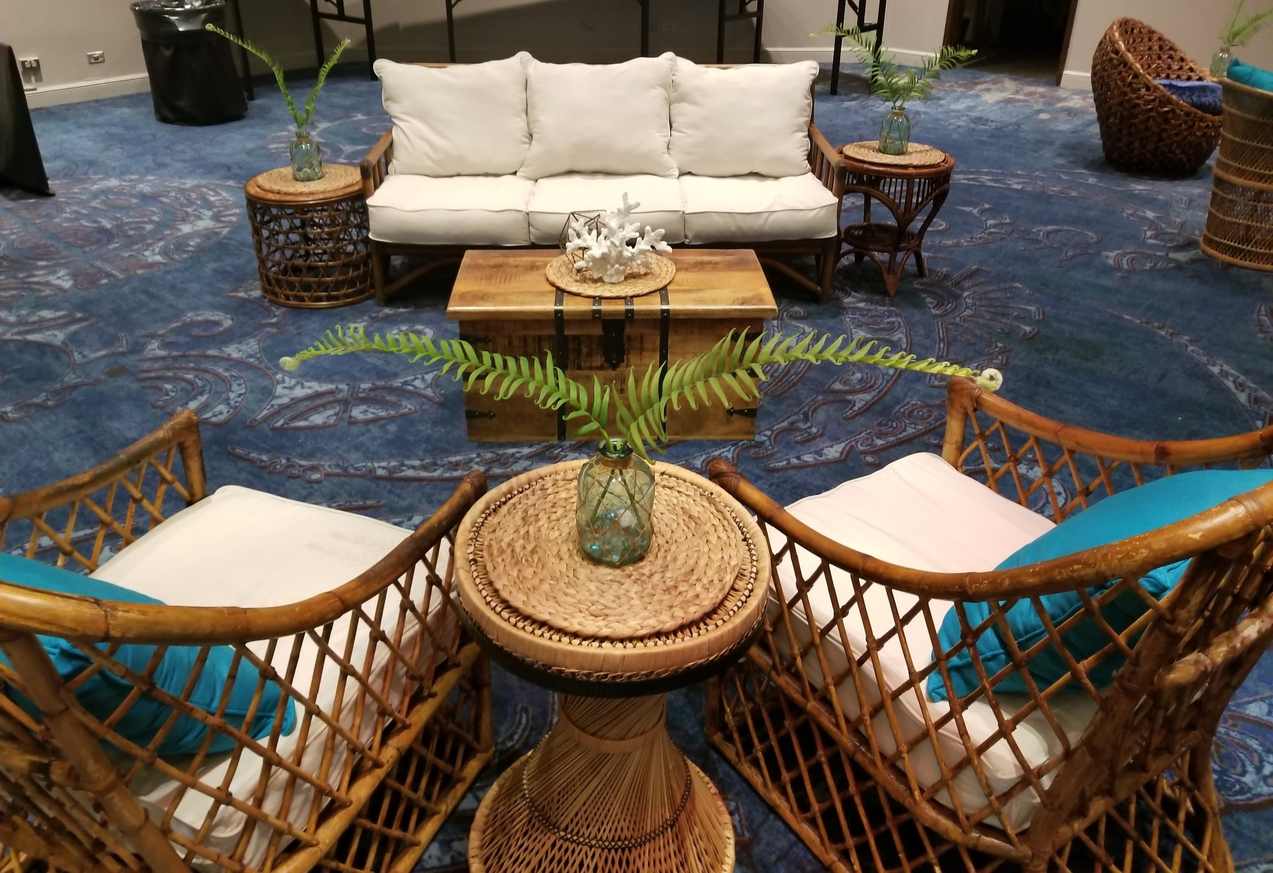 Tropical Blue Rattan Lounge 1