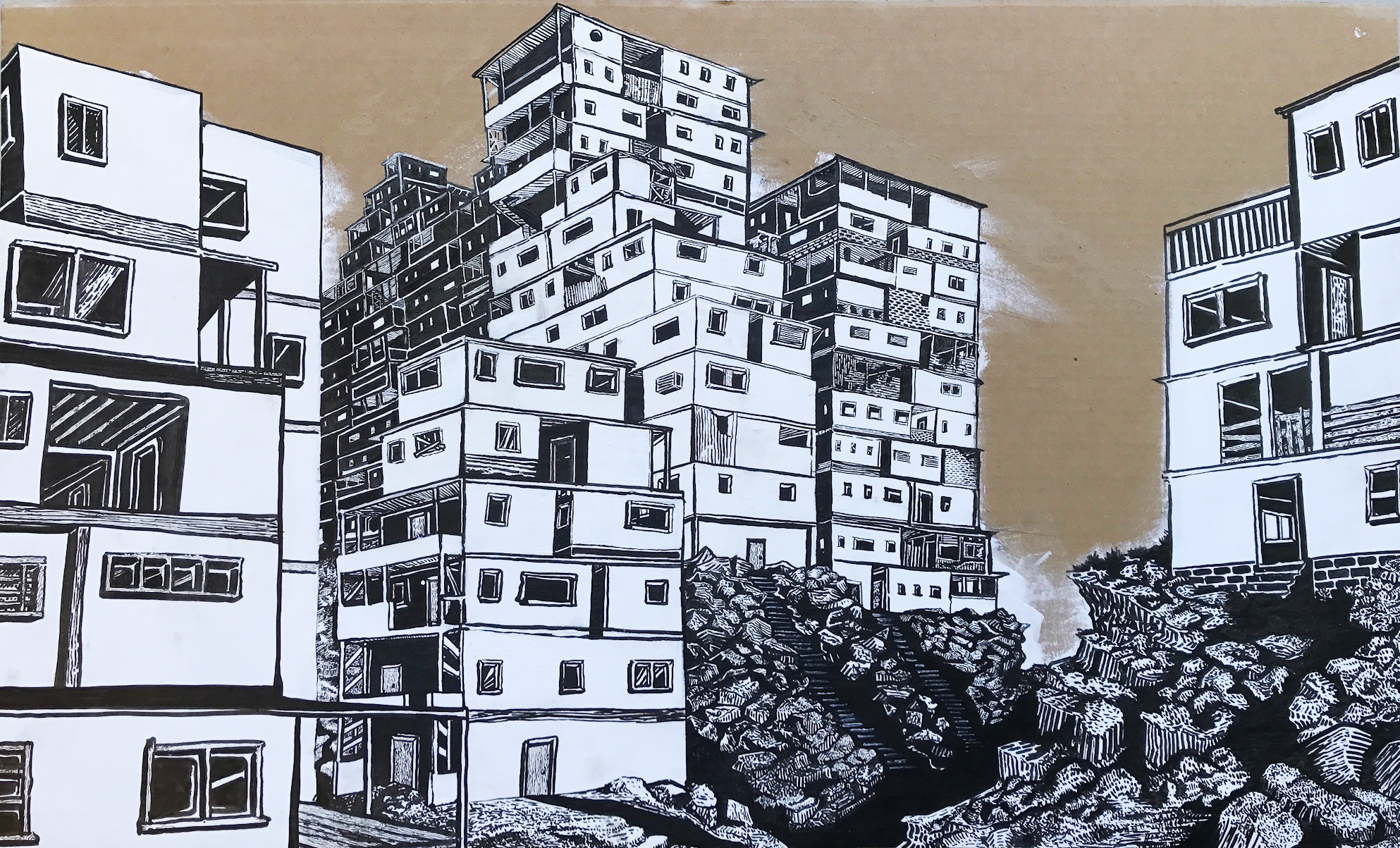"""""""Cityscape 2""""  //  Acrylic and ink on cardboard  //  42"""" x 25""""  //  2016"""