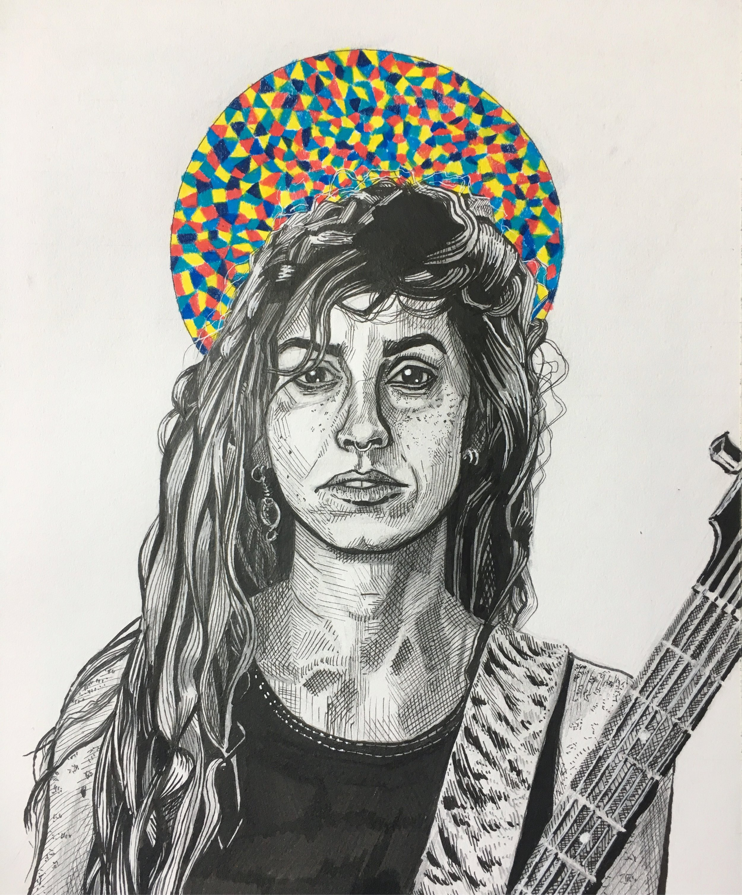 Portrait of Emma Ruth Rundle // graphite, colored pencil, ink // June 2019