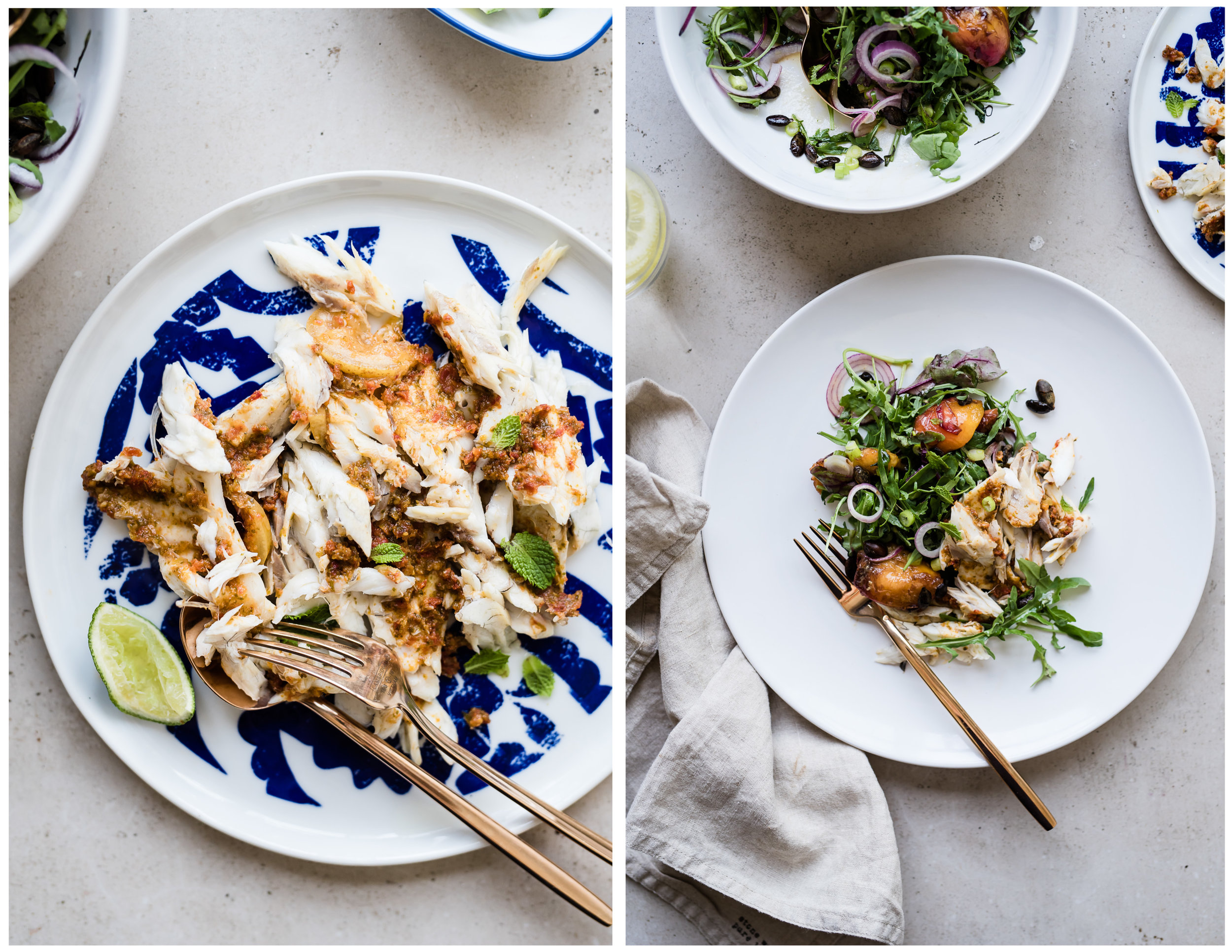 Gather a Table - BAKED WHOLE FISH WITH SUNDRIED TOMATO STUFFING & BALSAMIC NECTARINE SALAD