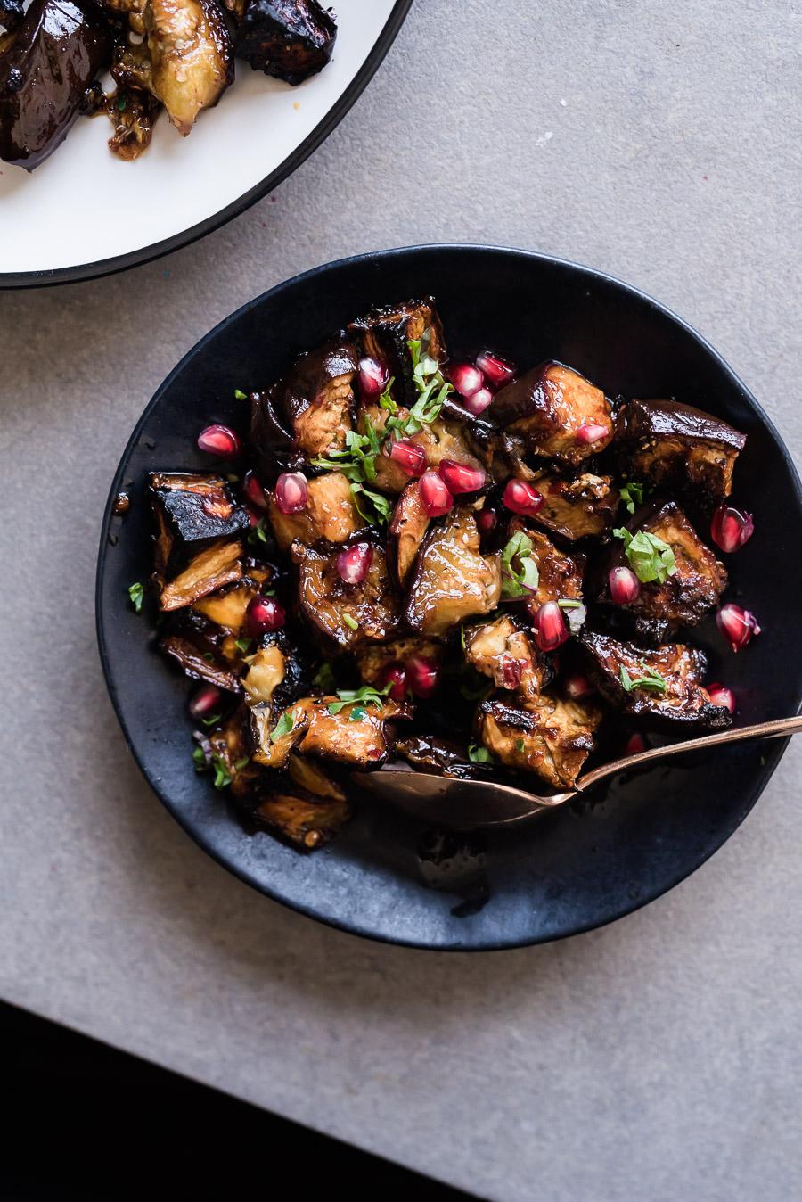 Pomegranate Molasses Harissa Roasted Eggplant
