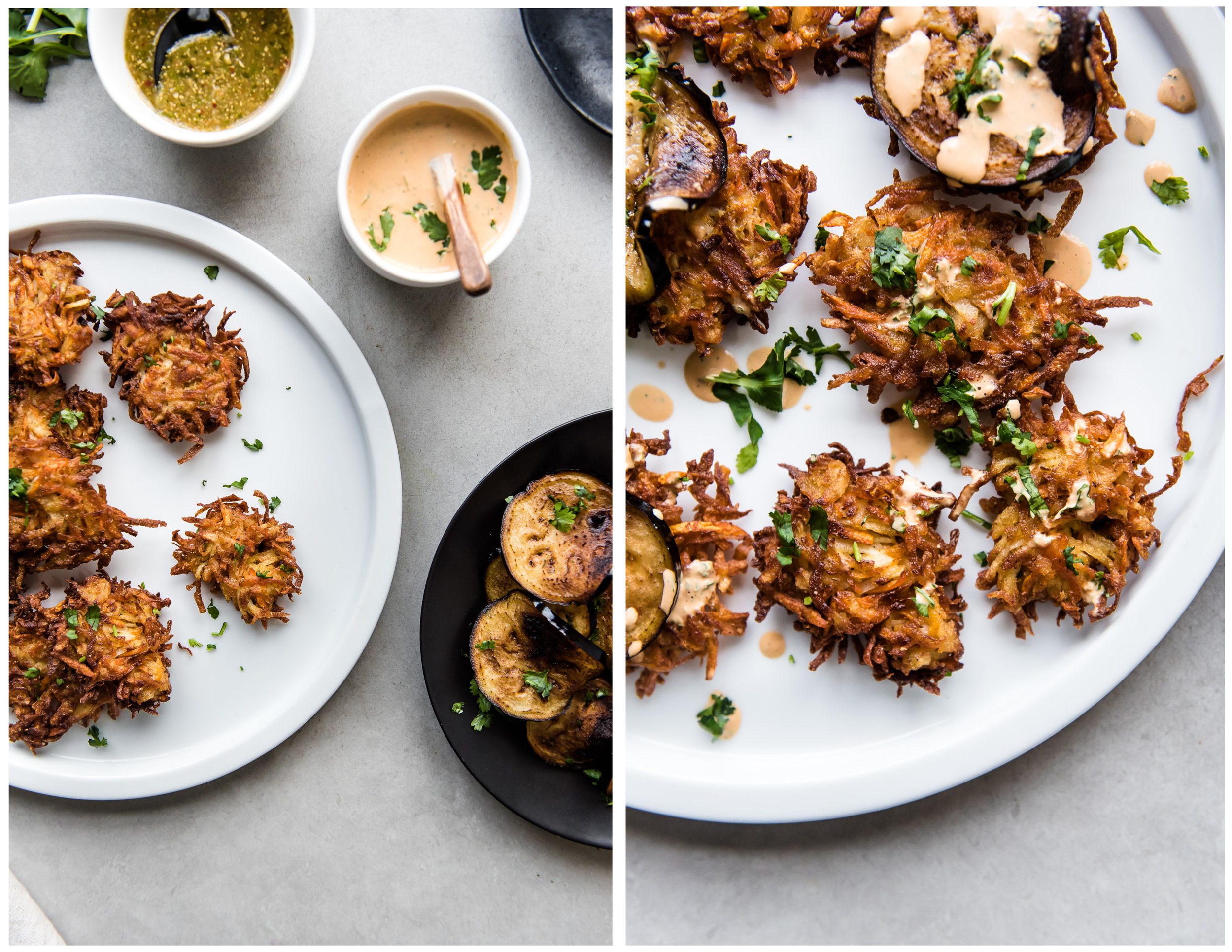 Carrot Latkes with Fried Eggplant and Harissa Tahini Drizzle - Gather A Table