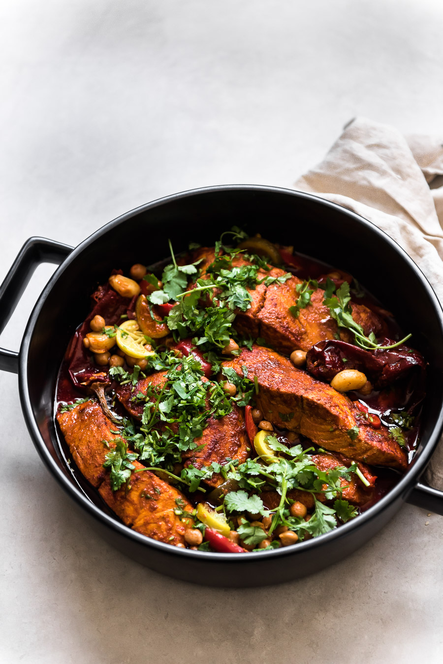 Moroccan Fish with Chickpeas and Preserved Lemons | Gather a Table
