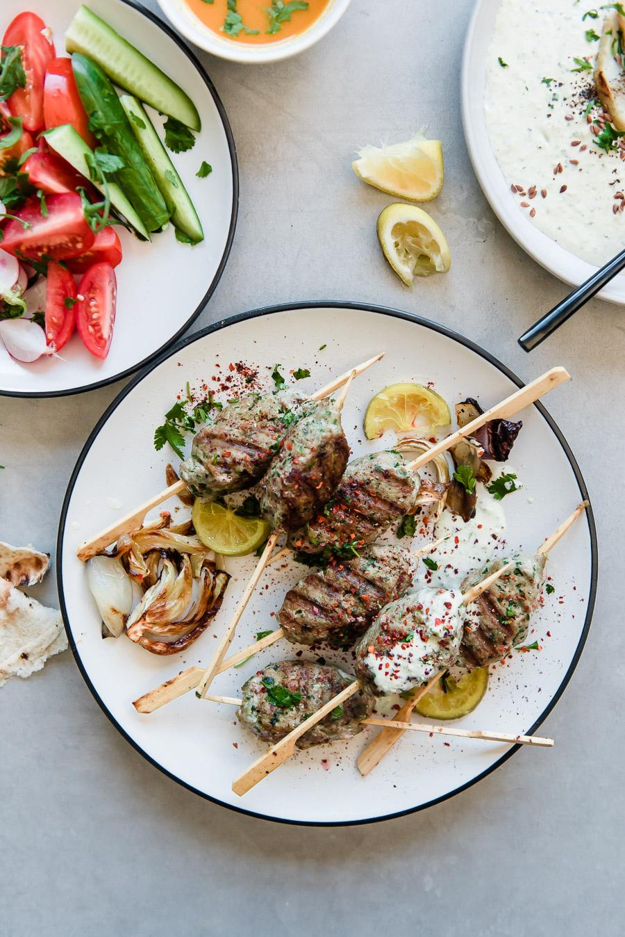 Turkey Kefta Kabobs with Roasted Artichoke Tahini and Za'atar Lafa Bread | Gather a Table